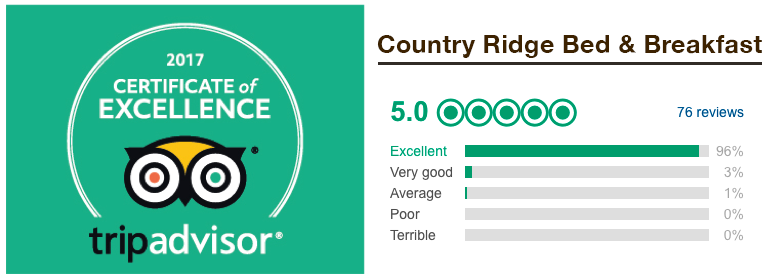 Trip Advisor certificate of excellence for Country Ridge Bed