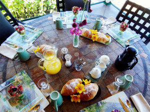 SCrumptious breakfast is One of our cats at Country Ridge Bed and Breakfast in Oyama BC