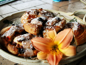 Homemade cinnamon buns served at Country Ridge Bed and Breakfast in Oyama BC