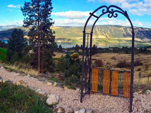 Scenic view from the garden at Country Ridge B&B in Oyama, BC