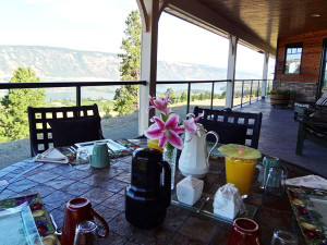 Enjoying the view for breakfast at Country Ridge B&B in Lake Country, BC