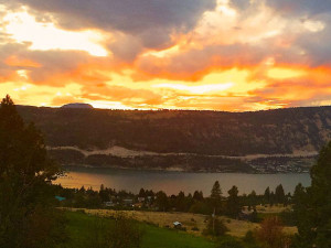 Sunset view from Country Ridge B&B in Oyama, BC