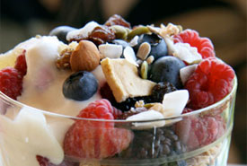 Delicious breakfast parfait served at Country Ridge B&B in Oyama
