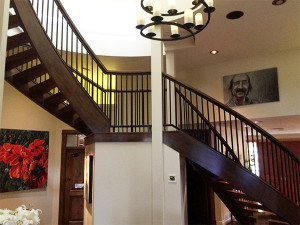 Top of the staircase at Country Ridge B&B in Oyama, BC