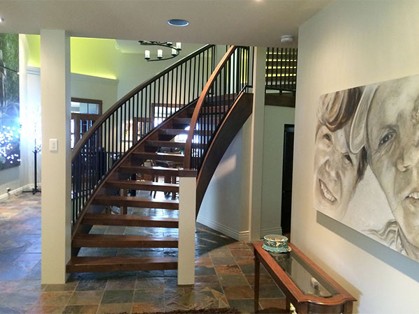 Bottom of the staircase at Country Ridge B&B in Oyama, BC