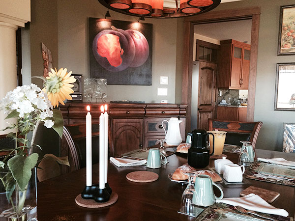Dining room at Country Ridge B&B in Oyama in the Okanagan BC